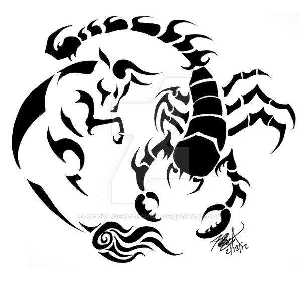 600x561 Taurus And Scorpio Tattoo Design By Kawaii Oekaki Chan