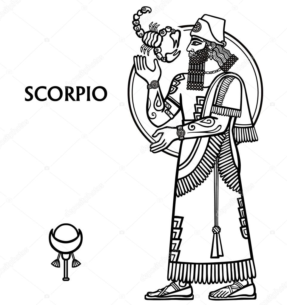 962x1023 Zodiac Sign Scorpio. Full Growth. Vector Illustration. Black