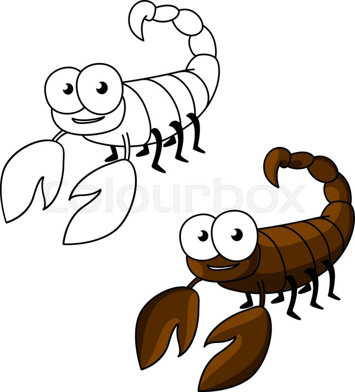 724x800 Cute Little Brown Scorpion Cartoon Character With Curved Tail