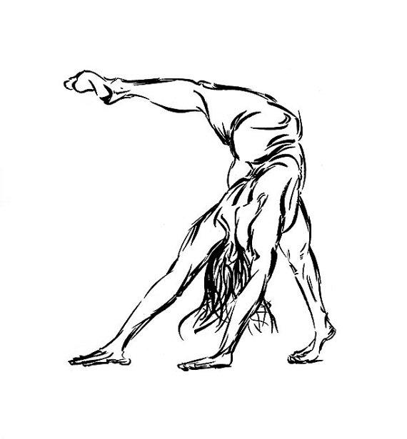 570x616 Yoga Art Ink Drawing Downward Facing Dog Scorpion