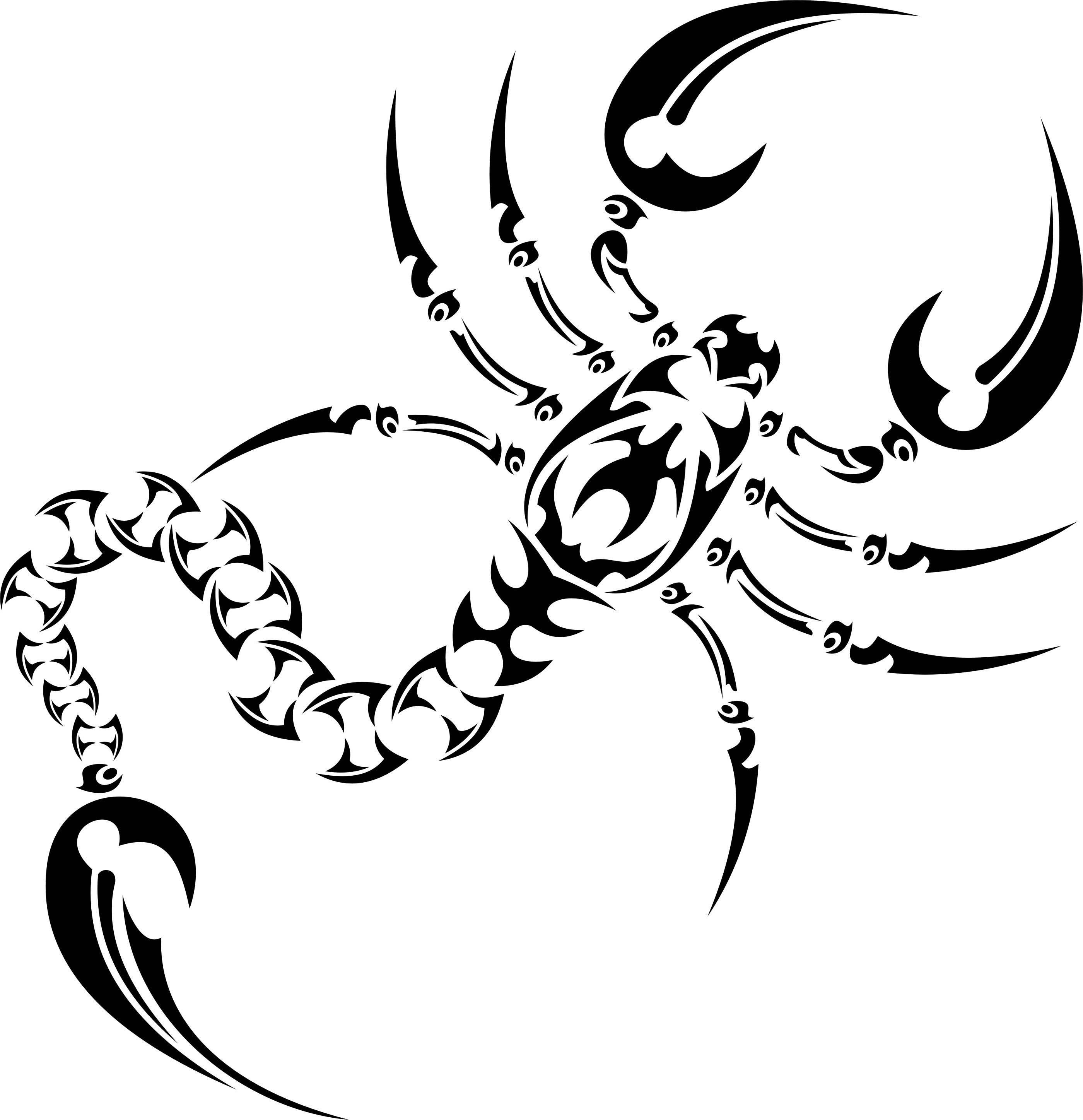 2800x2895 Collection Of Scorpion Tribal Tattoo Drawing