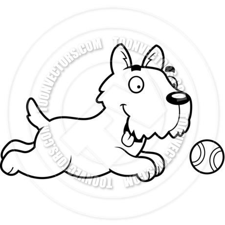 460x460 Cartoon Scottish Terrier Dog Chasing Ball (Black And White Line