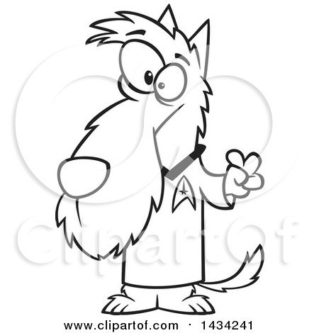 450x470 Clipart Of A Cartoon Black And White Lineart Scottie Dog In A Star