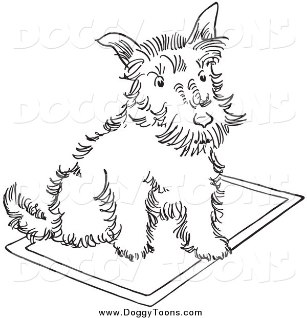 600x620 Doggy Clipart Of A Lineart Scottie Dog On A Rug By Picsburg