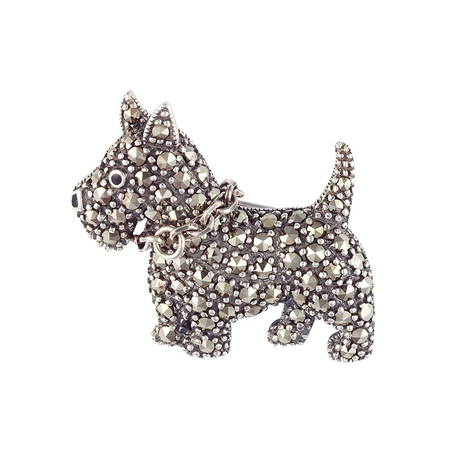 1500x1500 Esse Marcasite Sterling Silver Scottie Dog Brooch Set