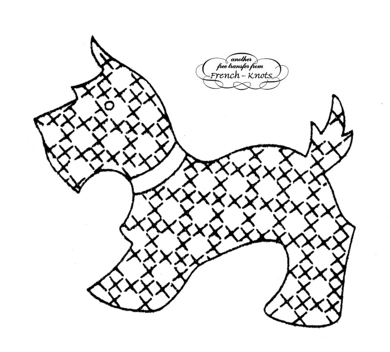 800x721 Scotty Dog Embroidery Transfer Pattern With Cross Stitch Patterning