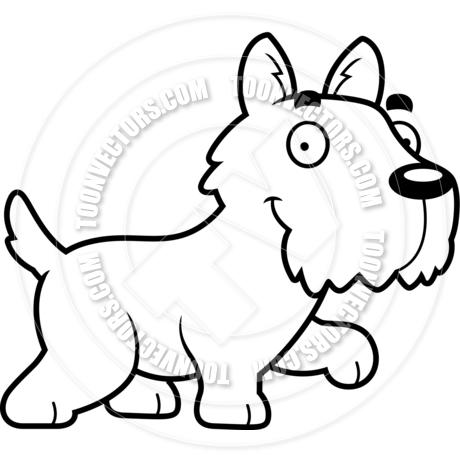 460x460 Cartoon Scottish Terrier Dog Walking (Black And White Line Art) By