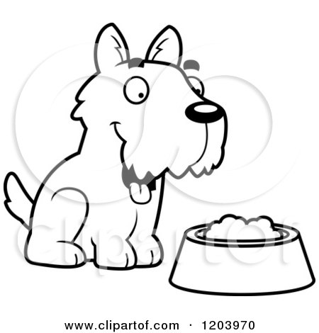 450x470 Cartoon Of A Black And White Cute Scottish Terrier Puppy By Dog