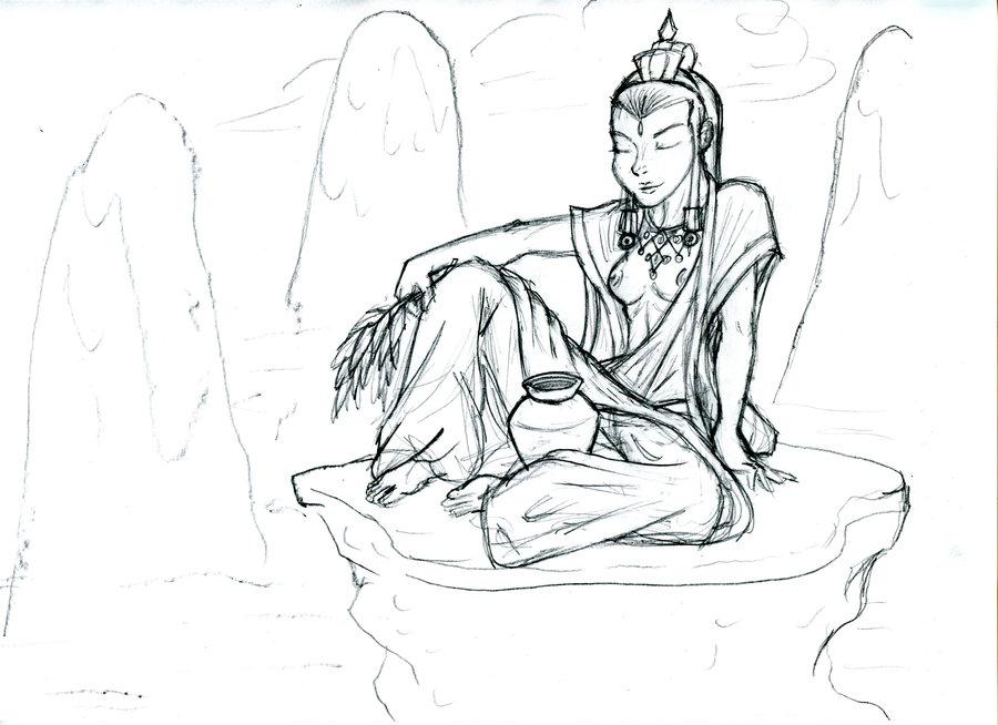 900x654 Kuan Yin Sketch Scrap By Razmere