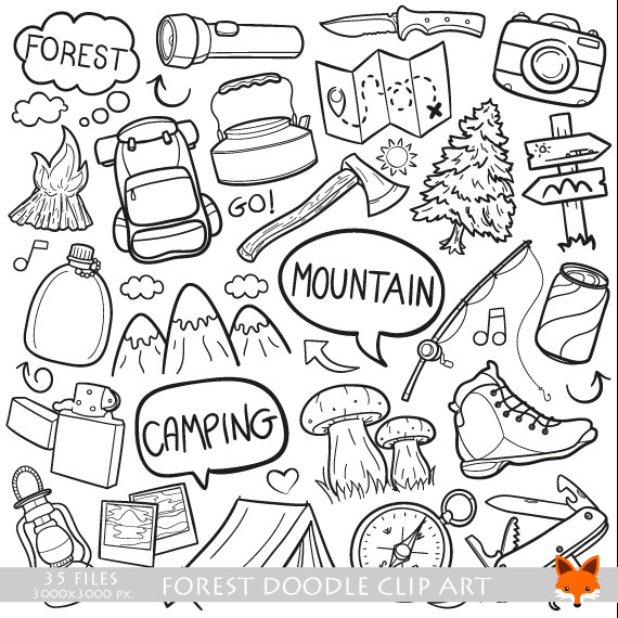 570x570 Mountain Day Forest Family Friends Holidays Doodle Icons Clipart