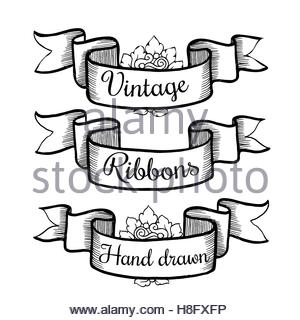 300x320 Old Hand Drawn Banner To Scrapbook Or Design In Vector.collection