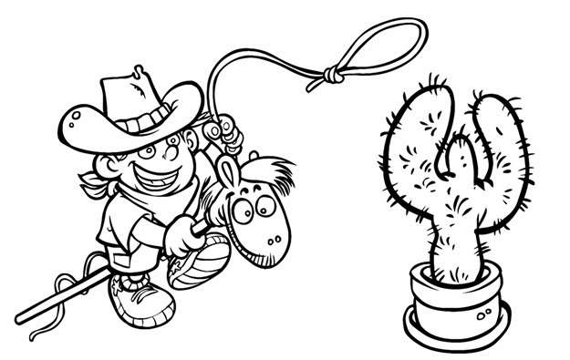 625x395 Child Cowboy On The Wooden Horse Outline Drawing Printable Image