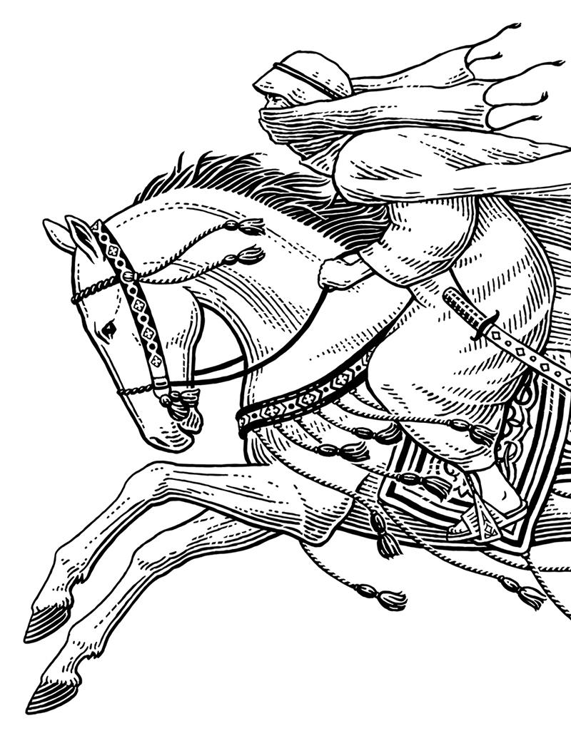 800x1056 Horseman Scratchboard, Pen Amp Ink, Engraving, Woodcut Styles
