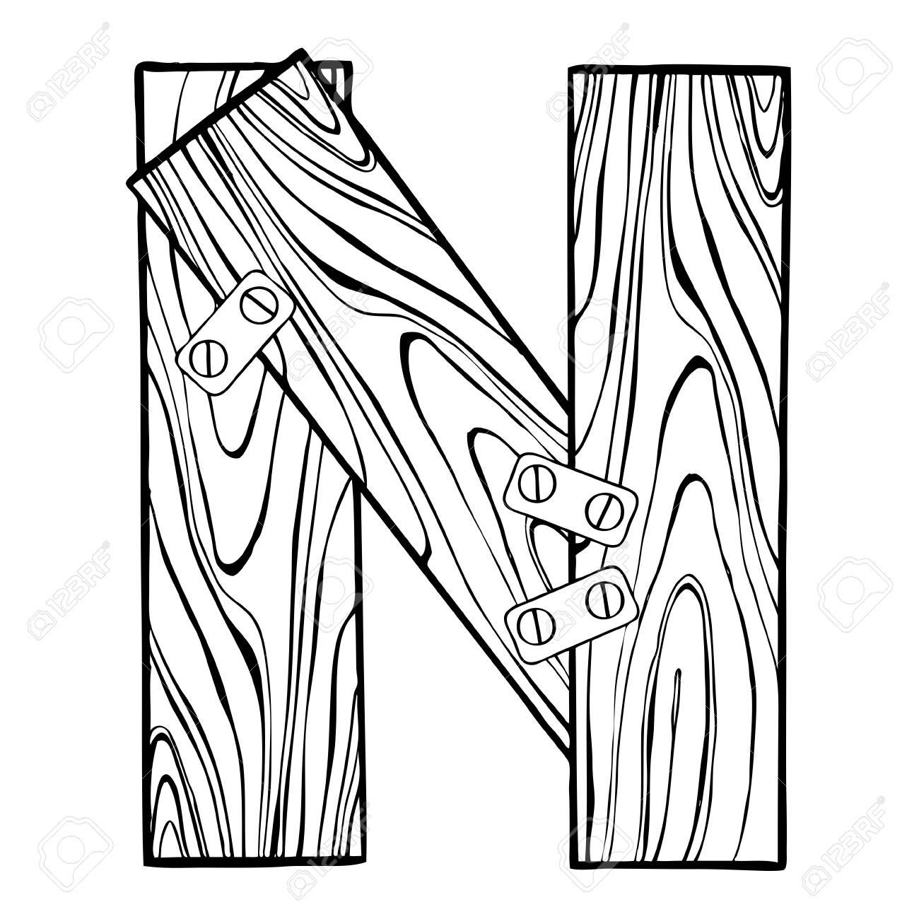 1300x1300 Wooden Letter N Engraving Vector Illustration. Font Art. Scratch
