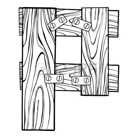 450x450 Wooden Letter P Engraving Vector Illustration. Font Art. Scratch