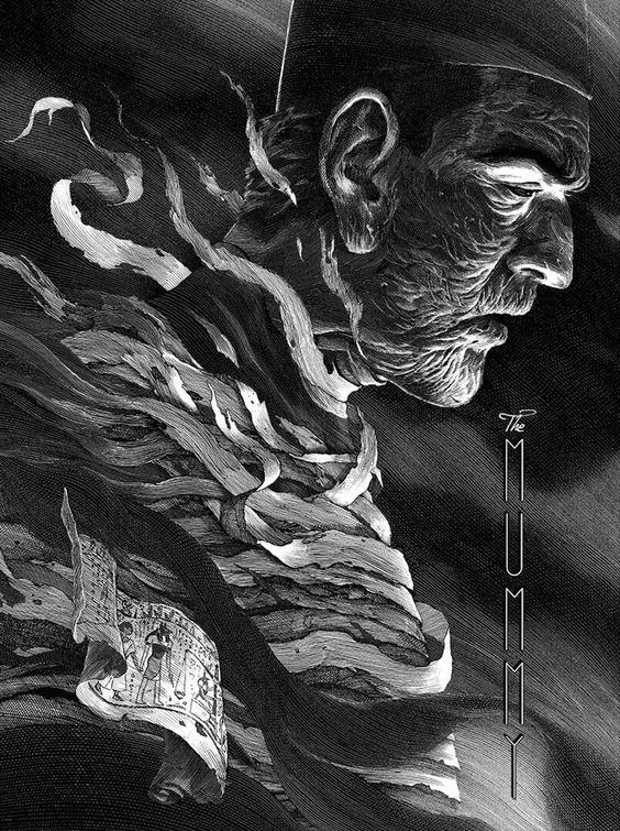 564x755 Pen And Ink Illustration Of Boris Karloff In The Universal