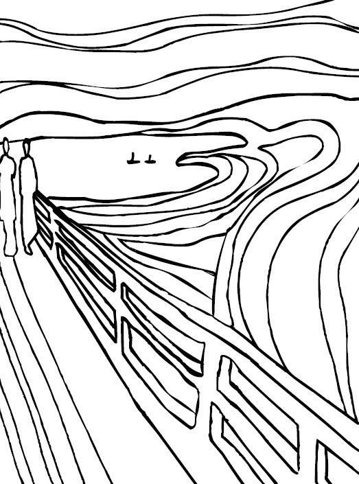 523x705 Munch The Scream Coloring Sheet Munch The Scream Coloring Page