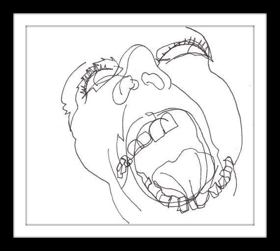 570x512 Original Illustration Scream Pen And Ink Blind Art Is On Etsy