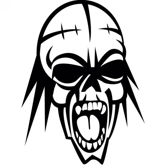 626x626 Screaming Human Skull Vector Illustration Vector Free Download