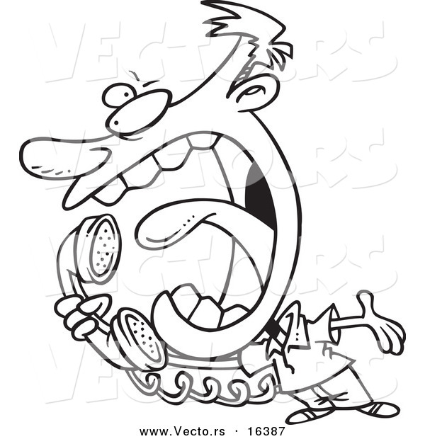 600x620 Vector Of A Cartoon Man Screaming Into A Telephone