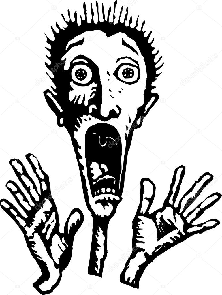 770x1023 Woodcut Illustration Of Man Screaming In Fright Stock Vector