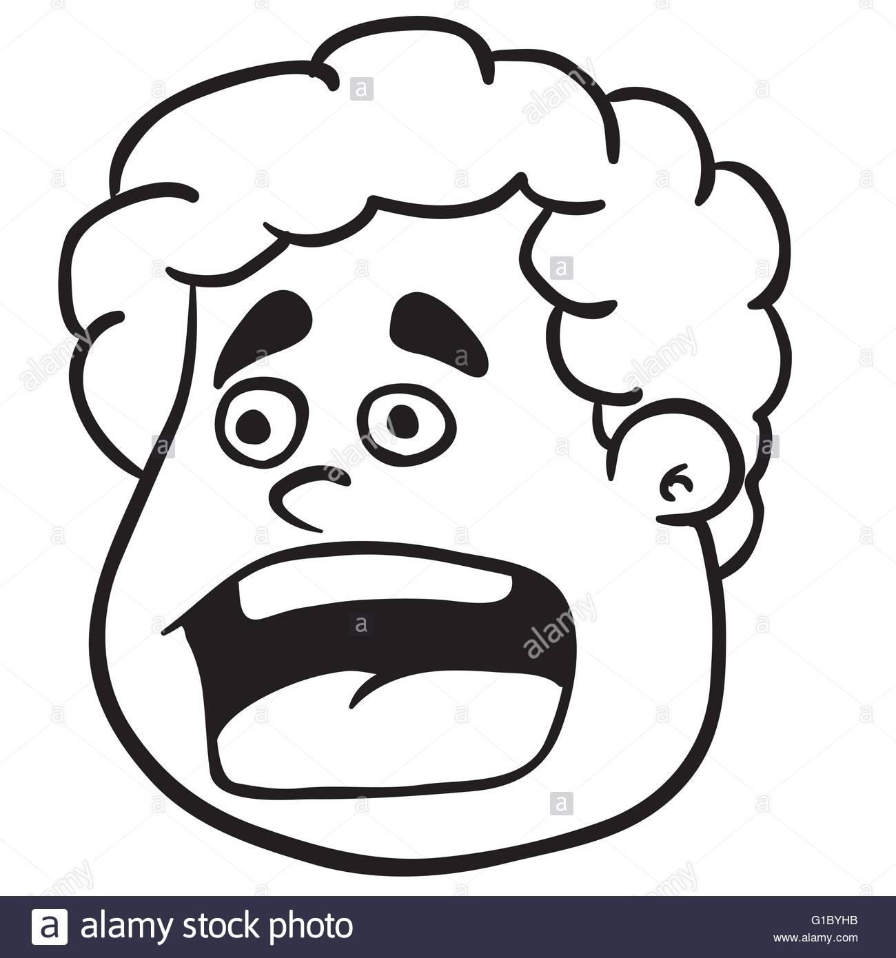 1300x1390 Simple Black And White Fat Boy Scream Cartoon Stock Vector Art