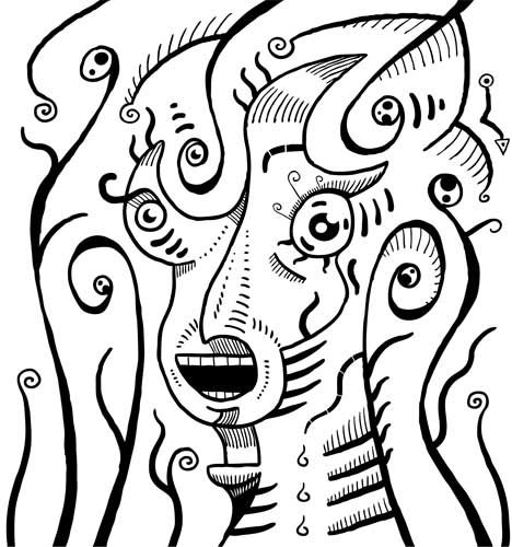468x500 Black Amp White Surrealism Scream Drawing Sotuland Art