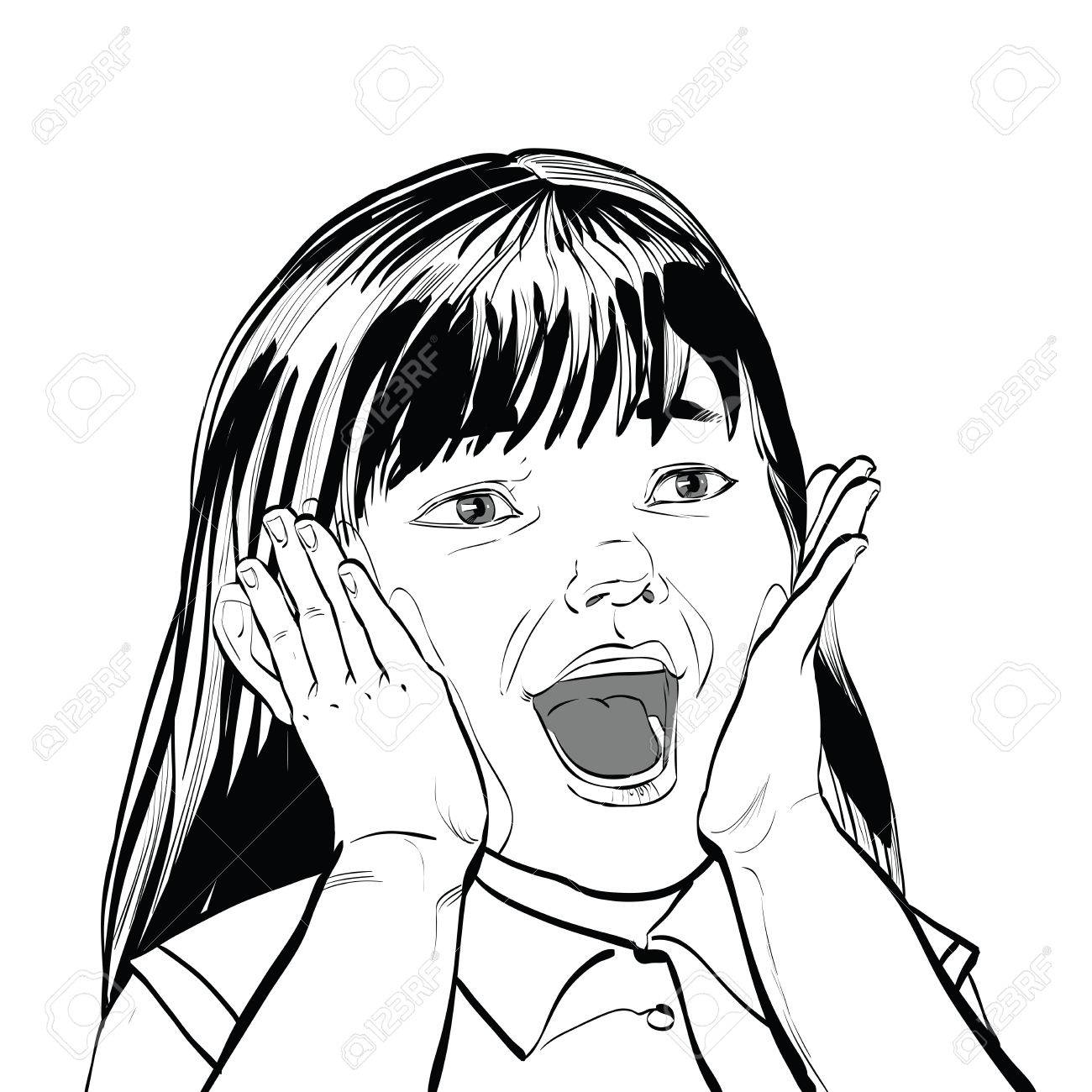 1300x1300 Wow Screams Cute Girl Black And White Illustration, Sketch Vector