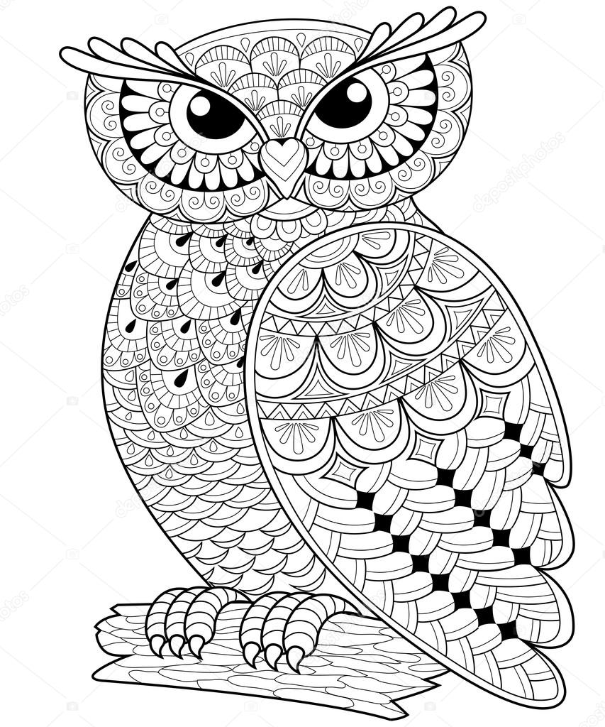 853x1024 Decorative Owl. Adult Anti Stress Coloring Page Stock Vector