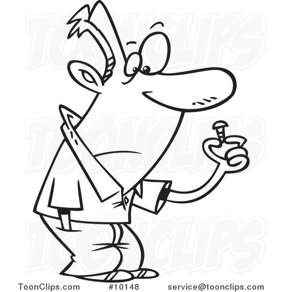581x600 Cartoon Black And White Line Drawing Of A Guy With A Loose Screw