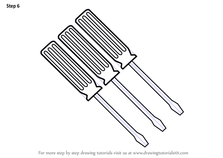 848x602 Learn How To Draw Screwdriver Set (Tools) Step By Step Drawing