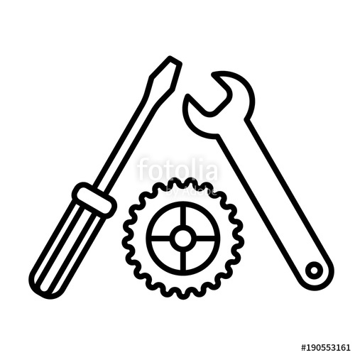 500x500 Settings, Screwdriver, Wrench And Gear Icon Vector. Tool Icon
