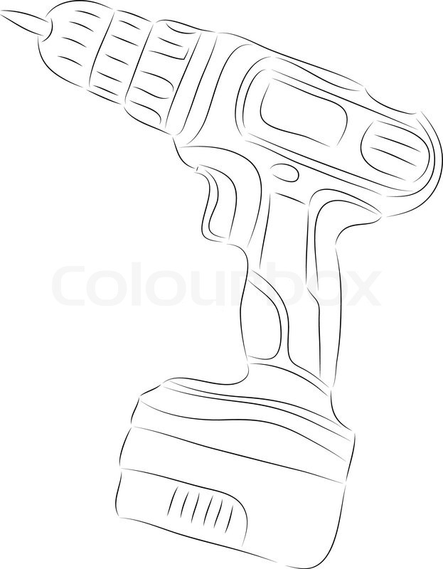 623x800 Battery Screwdriver Drawing Stock Vector Colourbox