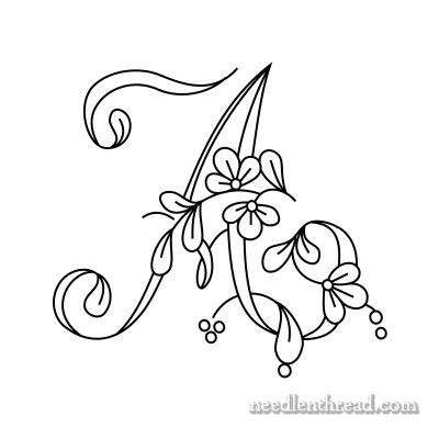 400x400 Floral Script Monogram For Embroidery A D