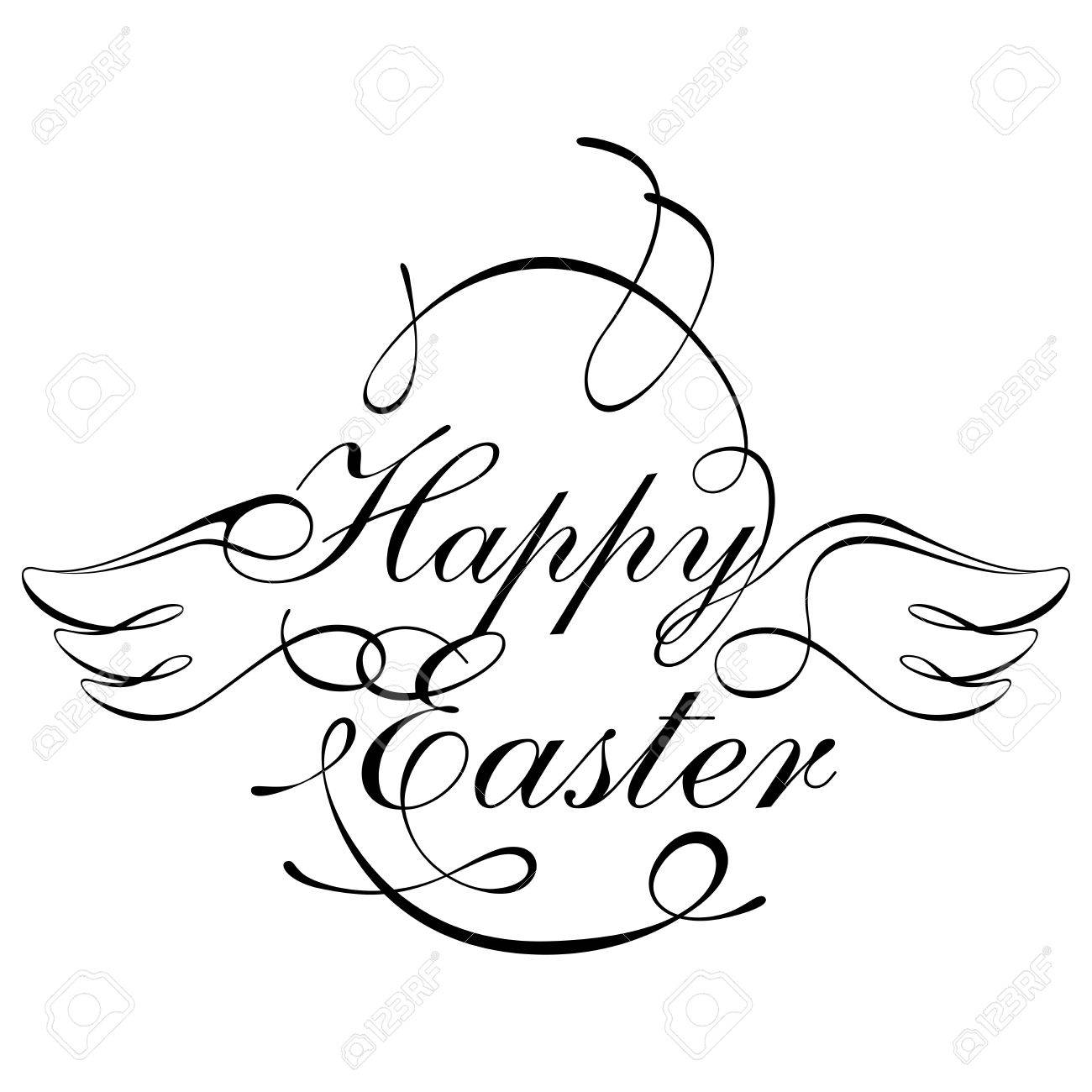 1300x1300 Happy Easter Script Design Element In Black And White Royalty Free