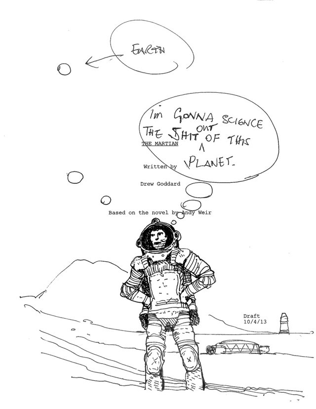 640x828 Ridley Scott Sends The Martian Script Page Into Space