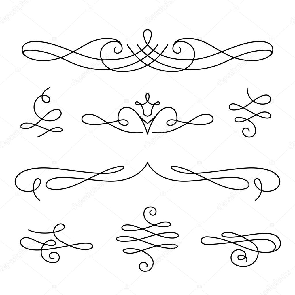 1024x1024 Scroll Elements, Set Of Vintage Calligraphic Vignettes Stock