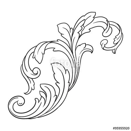 500x500 Vintage Baroque Frame Scroll Ornament Engraving Border Floral