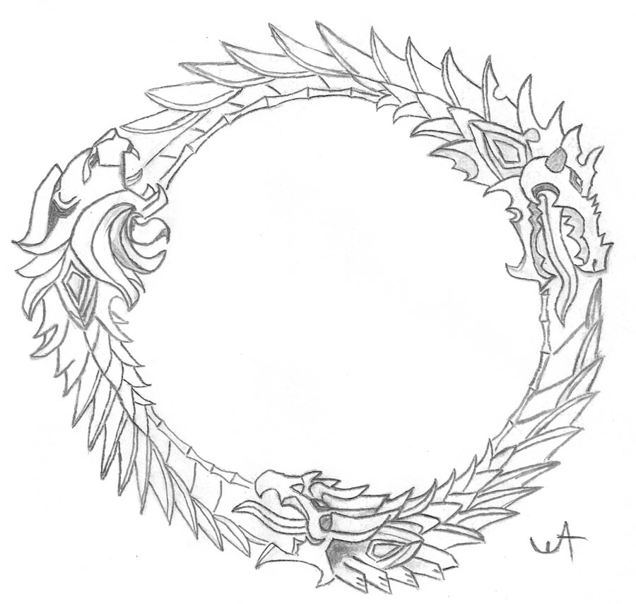 900x855 Ouroboros From The Elder Scrollsline By Thewilliemammoth