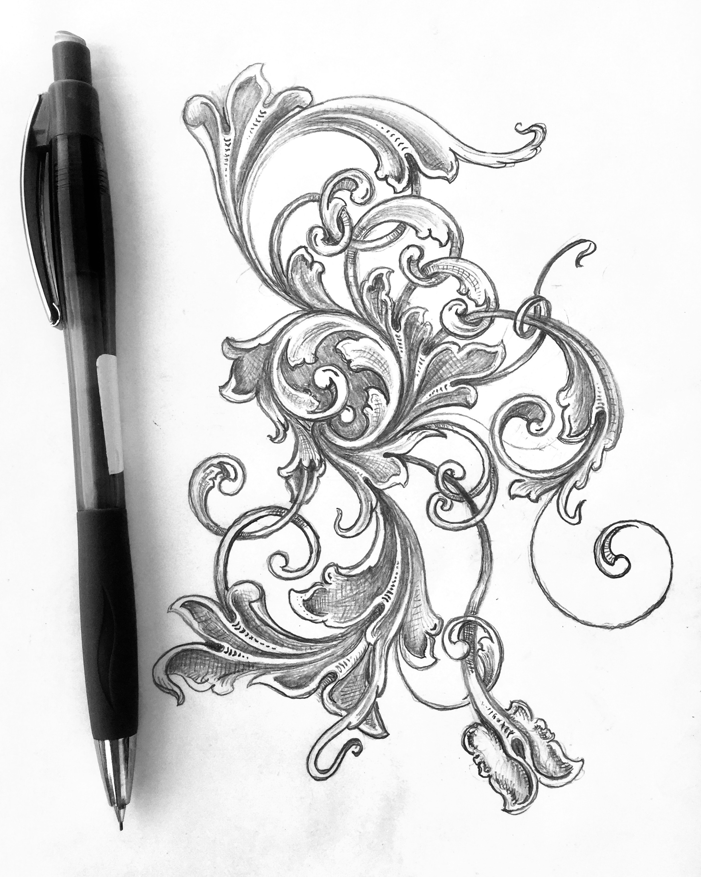 2448x3060 Scrollwork, Filigree, Scroll Sketch, Acanthus, My Sketches