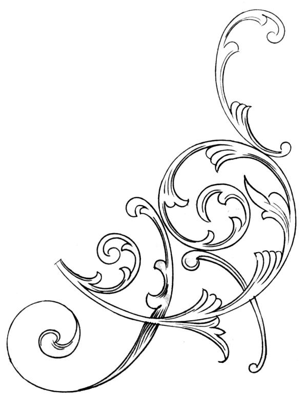 601x800 Simple Scrollwork Clipart