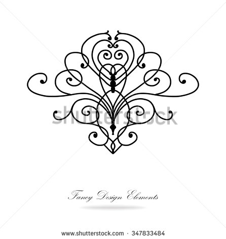 446x470 Design Elements Vector. Black And White Victorian Design