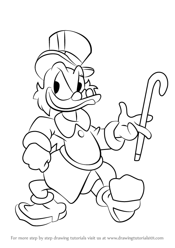 596x842 Learn How To Draw Scrooge Mcduck (Scrooge Mcduck) Step By Step