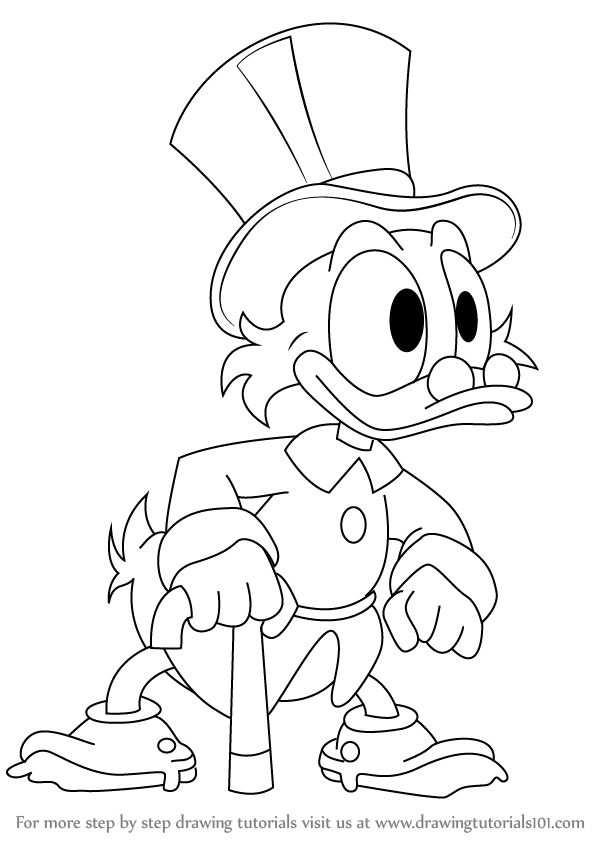 598x844 Learn How To Draw Scrooge Mcduck From Ducktales (Ducktales) Step