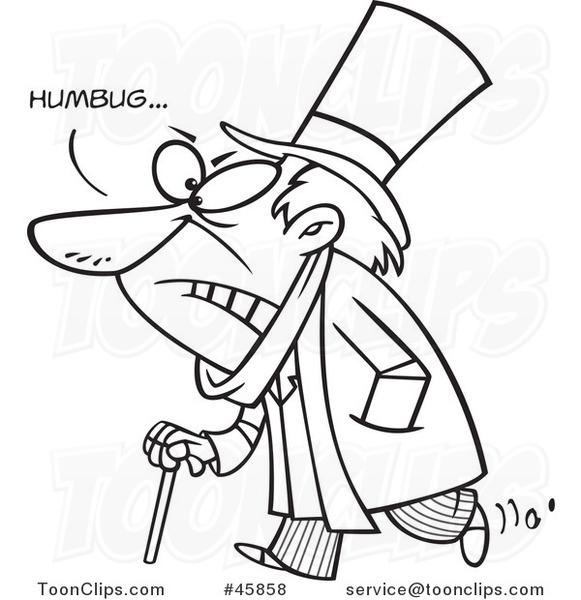 581x600 Cartoon Black And White Grumpy Scrooge Saying Humbug