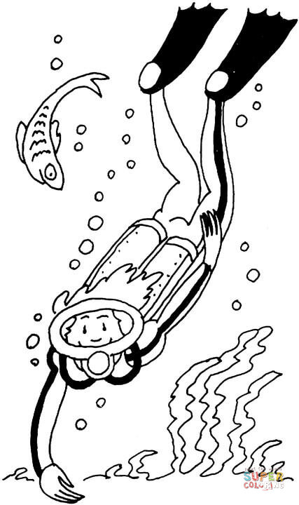 427x720 diver coloring page free printable coloring pages