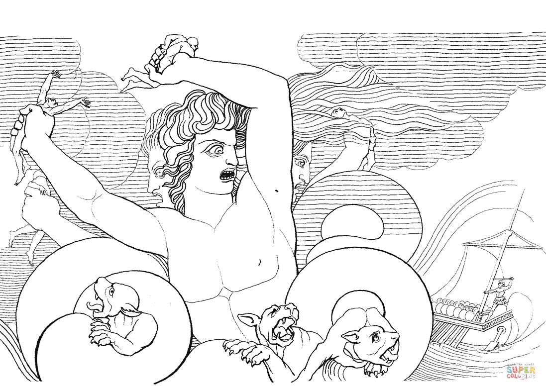 1097x784 Scylla Coloring Page Free Printable Coloring Pages