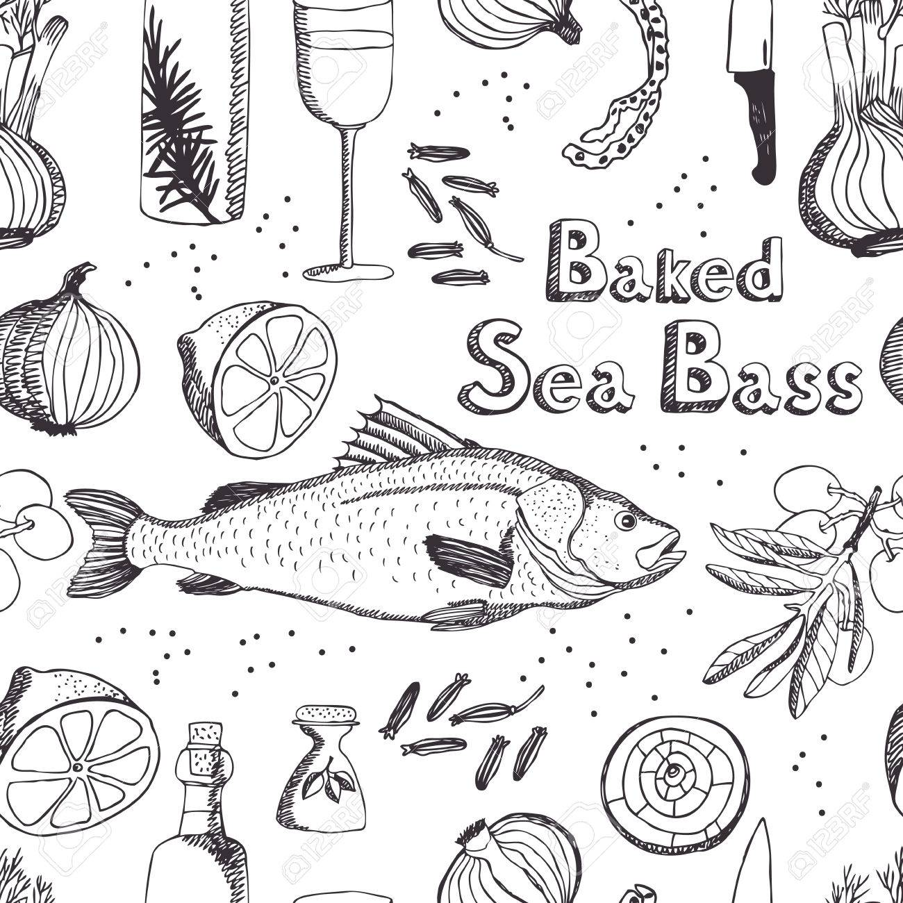 1300x1300 Baked Sea Bass Seamless Background Royalty Free Cliparts, Vectors