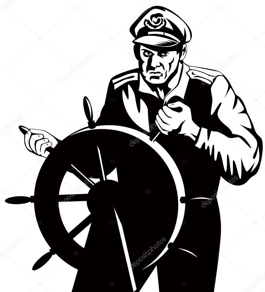 929x1024 Fisherman Sea Captain At Helm Retro Stock Vector Patrimonio