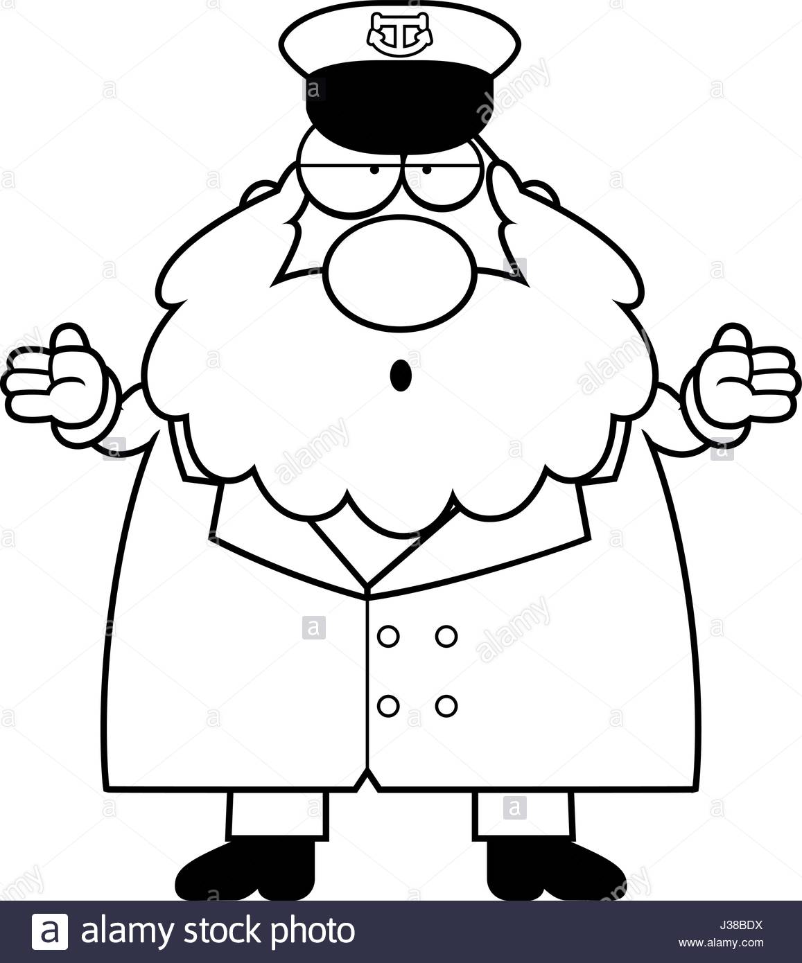 1157x1390 A Cartoon Illustration Of A Sea Captain Looking Confused Stock